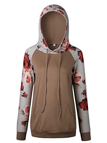 Hibluco Women s Casual Floral Printed Hoodie Pullover Sweatshirts 3 ... 92107c3fb