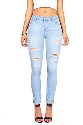 26a8728dd54 Wax Denim Women s Juniors Distressed Slim Fit Stretchy Skinny Jeans