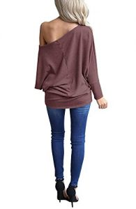 INFITTY Women s Off Shoulder Loose Pullover Sweater Batwing Sleeve Knit  Jumper Oversized Tunics Top 3e644bd47
