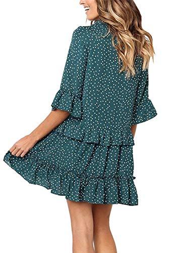 88938b49d06 Onlypuff Ruffle Polka Dot Dresses Swing Tunic Tops Casual Loose Fitting V  Neck Sleeveless